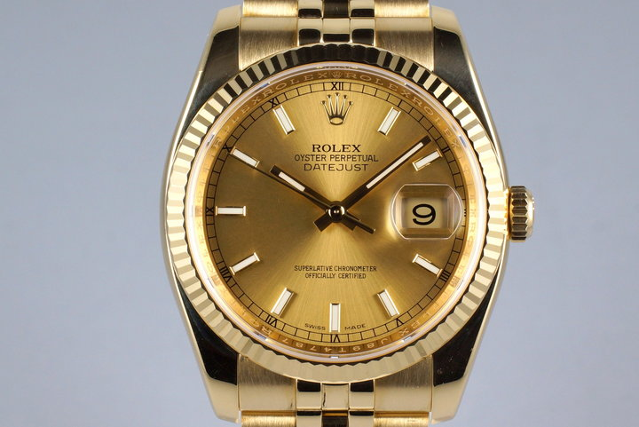 2013 Rolex YG DateJust 116238 with Box and Papers photo