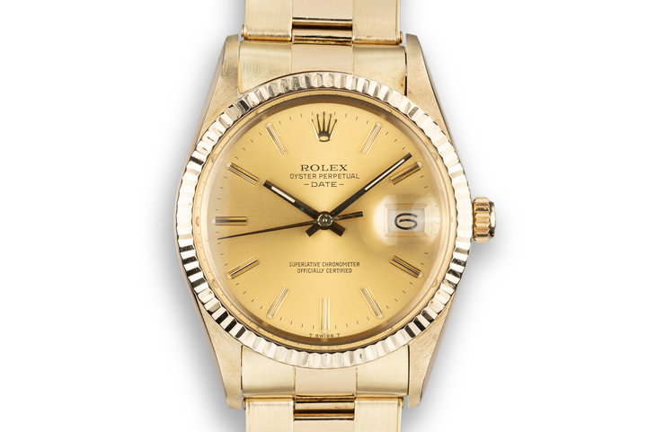 1981 Rolex 14K YG Date 15037 with Champagne Dial photo