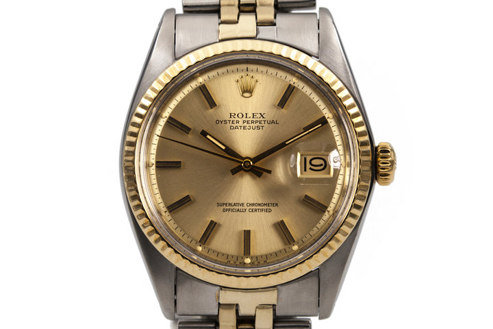 1972 Rolex Two Tone DateJust 1601 Gold Dial with Box and Papers photo