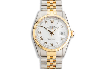 1987 Rolex Two-Tone DateJust 16013 White Roman Dial photo