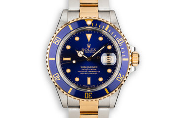 1987 Rolex Two-Tone Submariner 16803 Blue Dial with Box and Papers photo