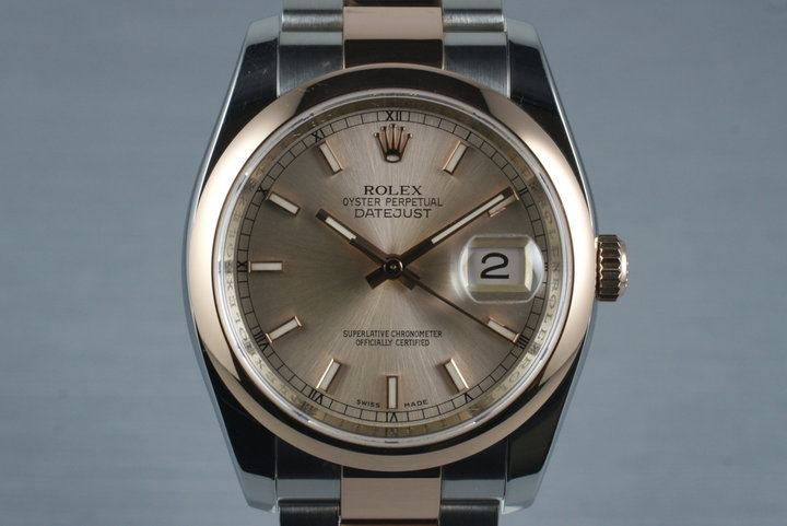 2006 Rolex Datejust 116201 Rose Gold and Stainless with Box and Papers photo