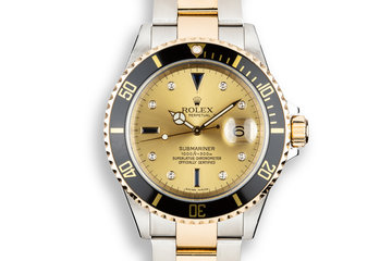 2005 Rolex Two-Tone Submariner 16613 Champagne Serti Dial with Box and Papers photo