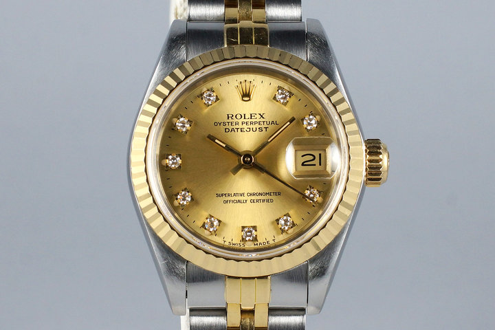 1991 Rolex Ladies Two Tone DateJust 69173 Factory Diamond Champagne Dial photo