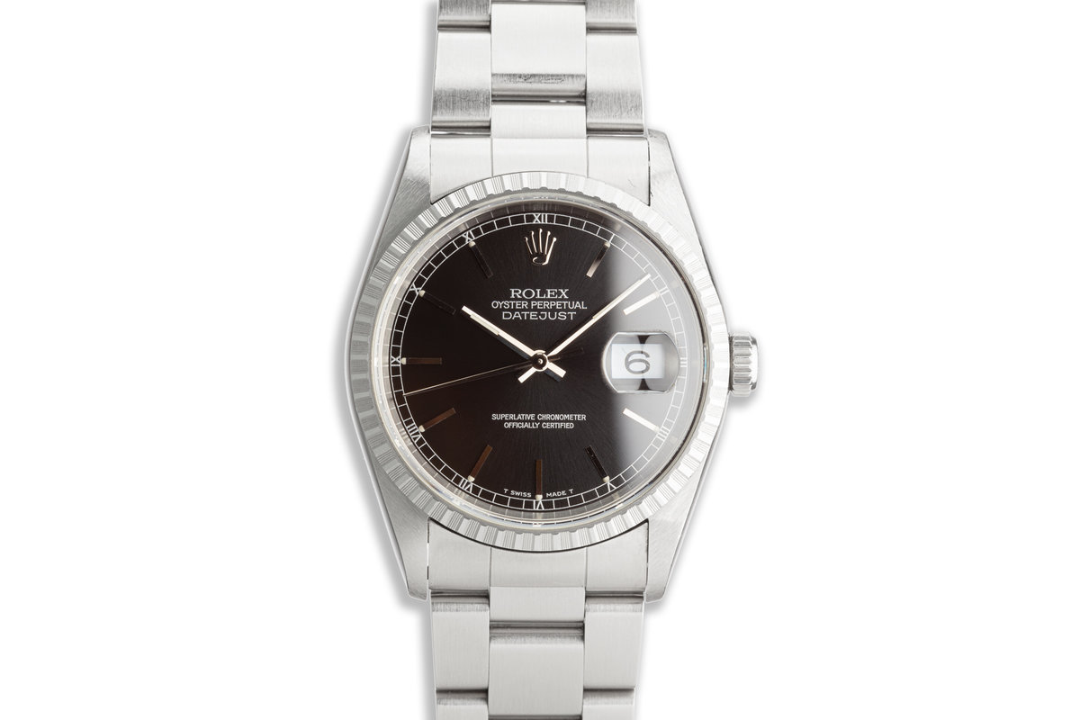 1996 Rolex Unpolished DateJust 16220 Black Dial with Box and Papers photo, #0