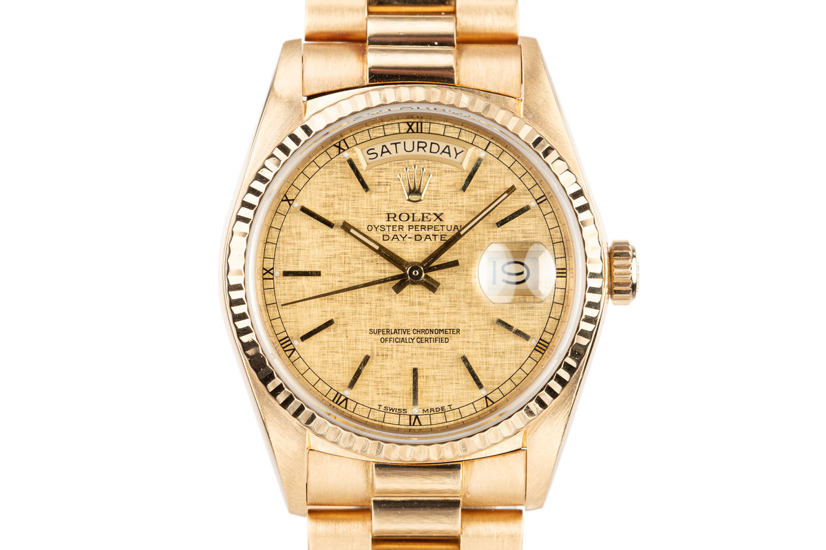 1985 Rolex 18K YG Day-Date 18038 with Gold Linen Dial photo, #0