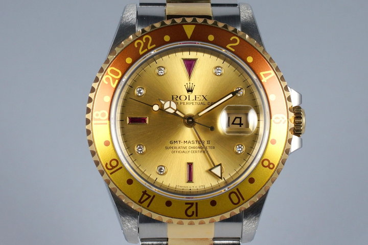 1991 Rolex Two Tone GMT II 16713 Serti Dial photo