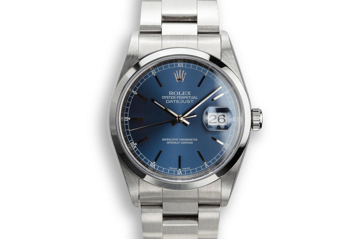 1999 Rolex DateJust 16200 Blue Dial photo, #0