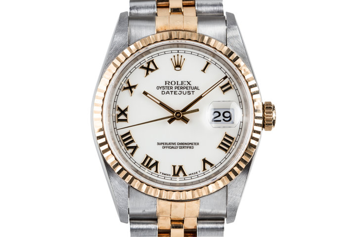 1995 Rolex Two Tone DateJust 16233 White Roman Dial with Box and Papers photo