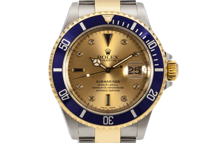 2000 Rolex Two Tone Submariner 16613 Champagne Serti Dial with Box and Papers photo