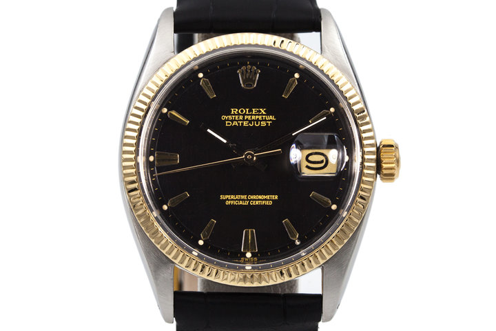 1961 Rolex Two Tone DateJust 1601 Glossy Gilt Black Dial photo