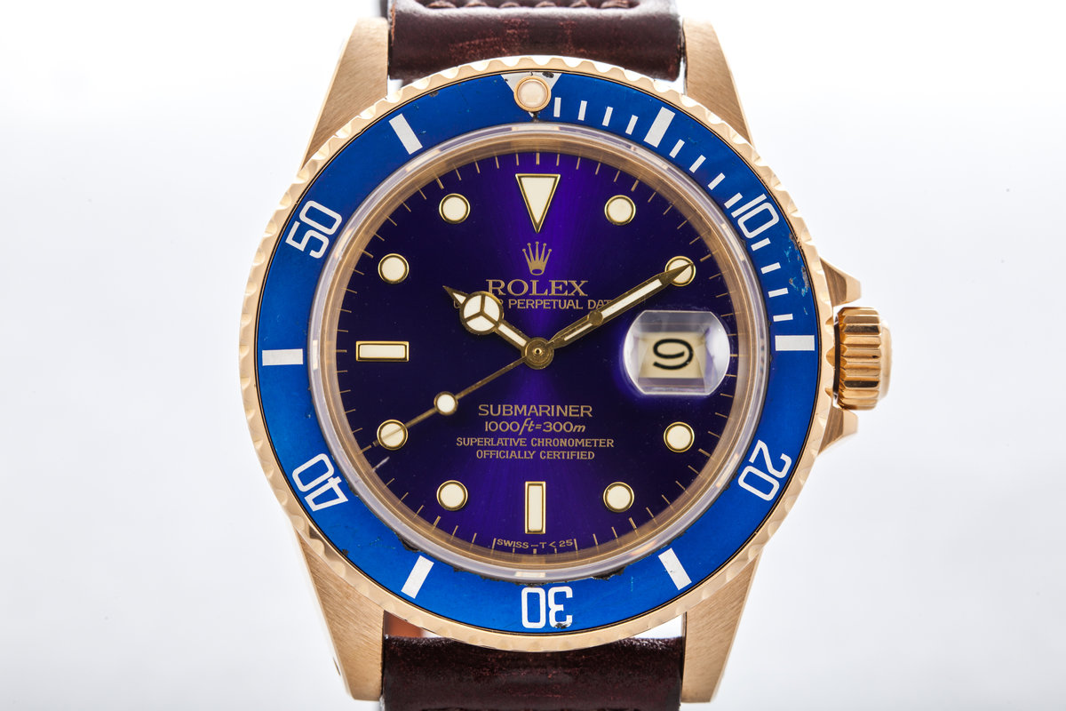 1982 Rolex YG Submariner 16808 with Purple Dial  photo, #0