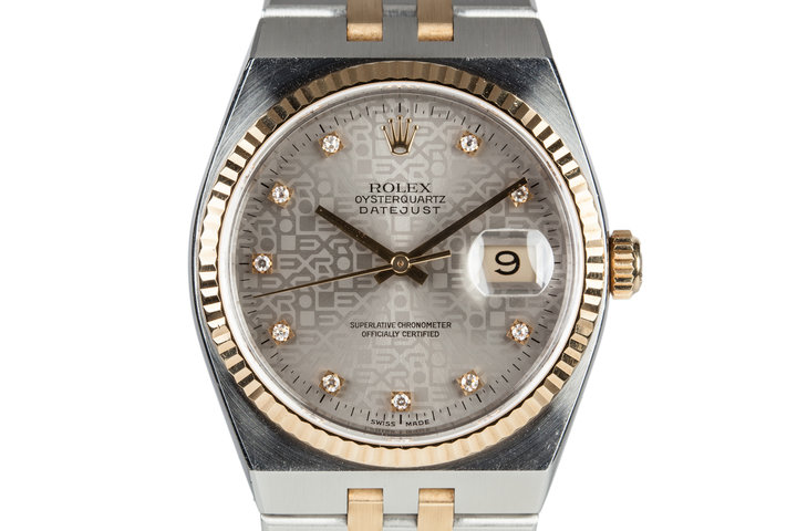 1999 Two Tone Rolex OysterQuartz DateJust 17013 with Factory Diamond Dial photo