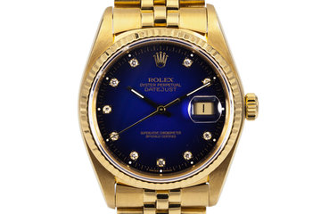 1982 Rolex YG Datejust 16018 Factory Diamond Blue Vignette Dial photo