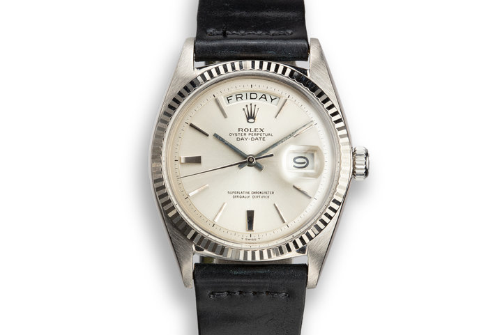1965 Rolex 18K WG Day-Date 1803 Silver No Lume Dial photo