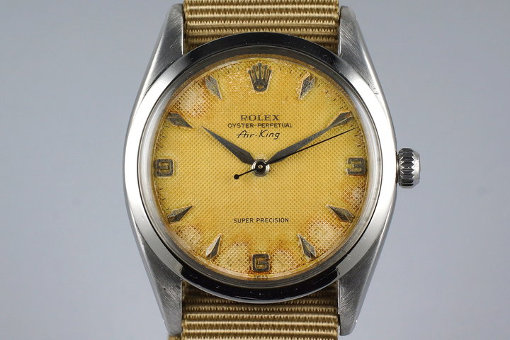 1958 Rolex Air-King 5504 Tropical Non-Luminous Cream Waffle Dial photo