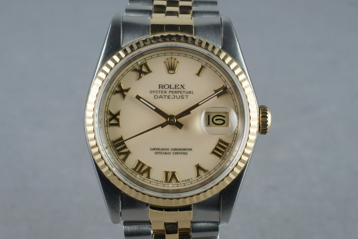 1988 Rolex 18K/SS DateJust 16233 with Cream Roman Dial photo