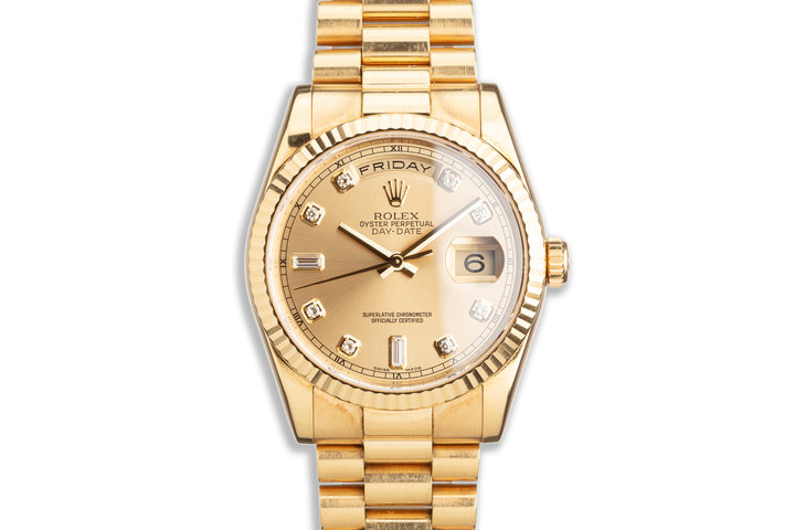 2008 Rolex 18K YG Day-Date 118238 Diamond Dial with Box and Card photo