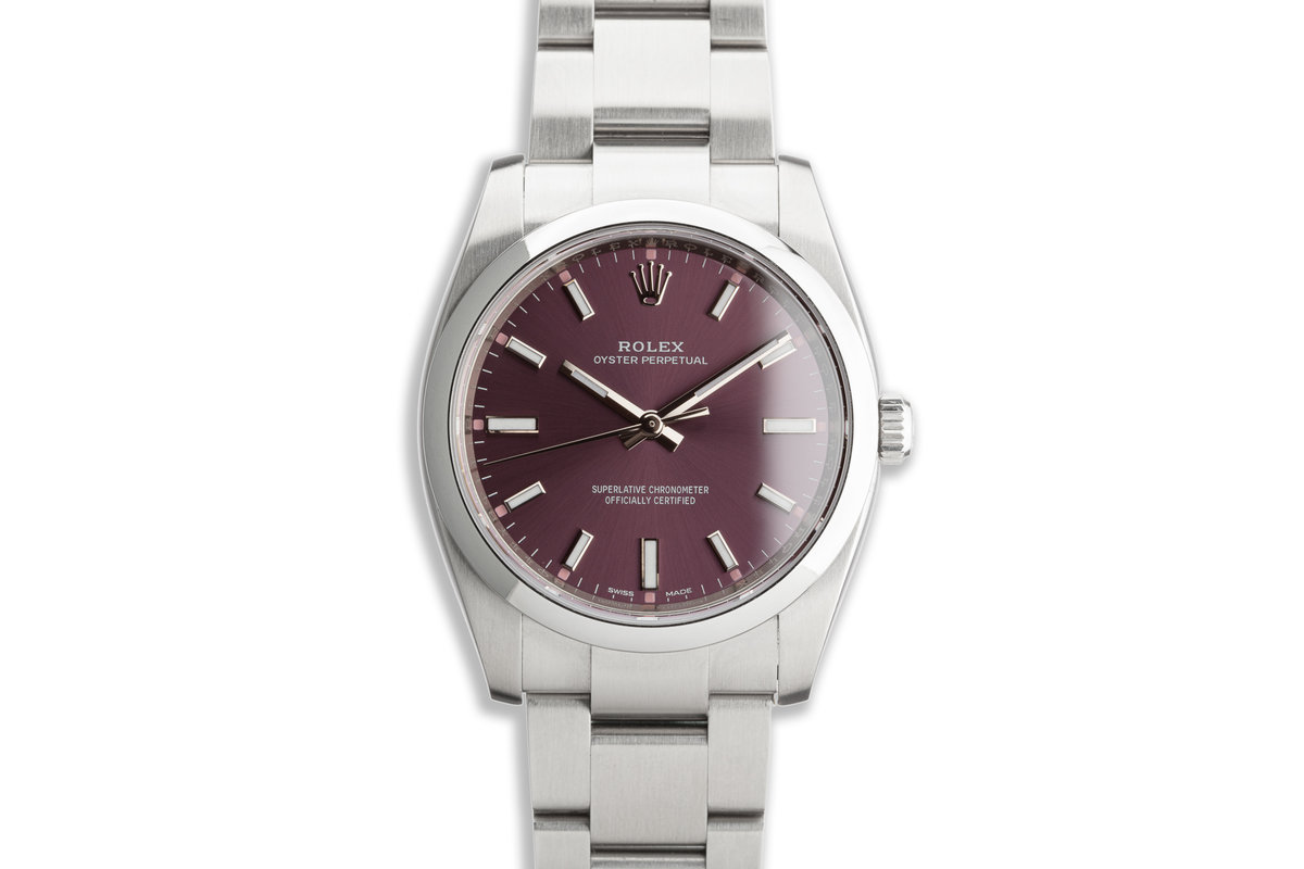 "2019 Oyster Perpetual 114200 ""Red Grape"" Dial with Box and Card photo, #0"