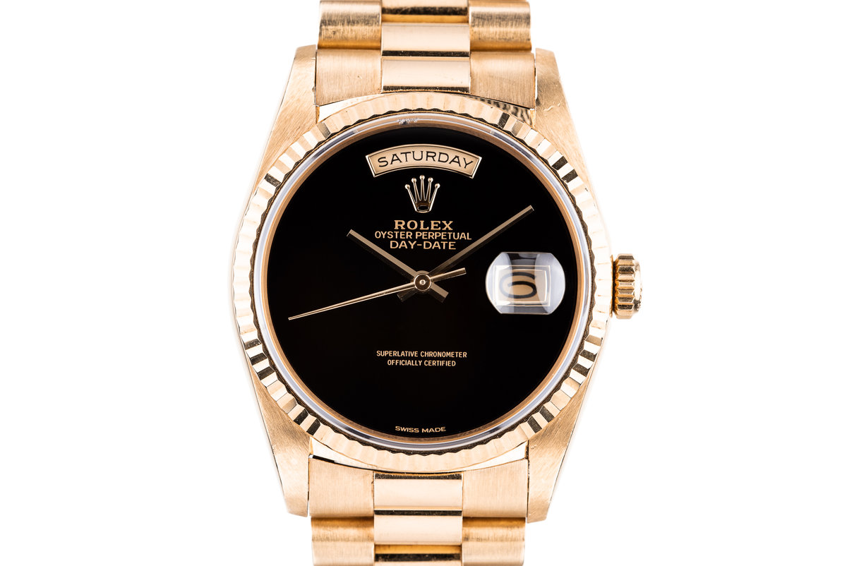 1989 Rolex 18K Day-Date 18238 with Onyx Stone Dial photo, #0