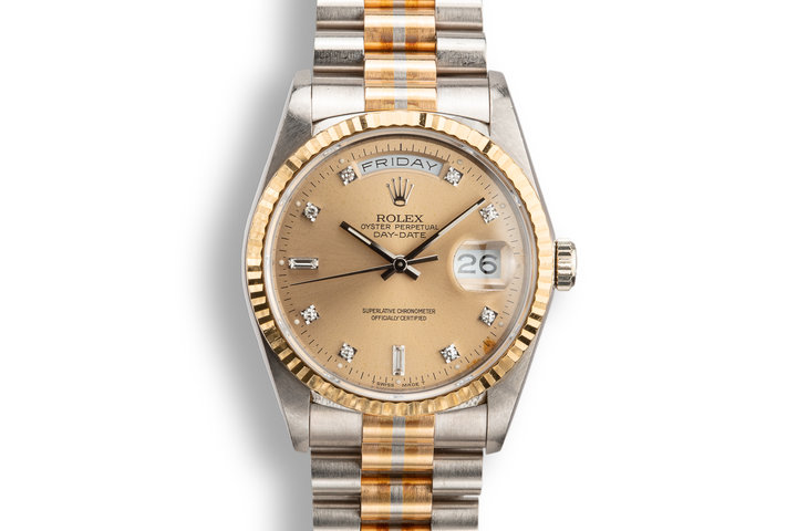 1990 Rolex Day-Date 18239 Tridor President with Salmon Diamond Dial with Papers photo