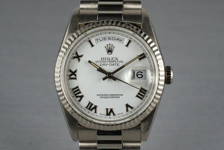 1999 Rolex WG Day-Date 18239 with White Roman Dial photo