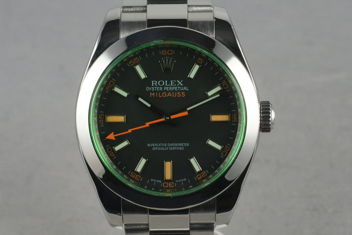 2007 Rolex Milgauss Green 116400GV with Box and Papers photo