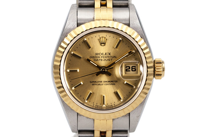 1997 Rolex Ladies Two Tone DateJust 69173 Gold Dial with Box and Papers photo