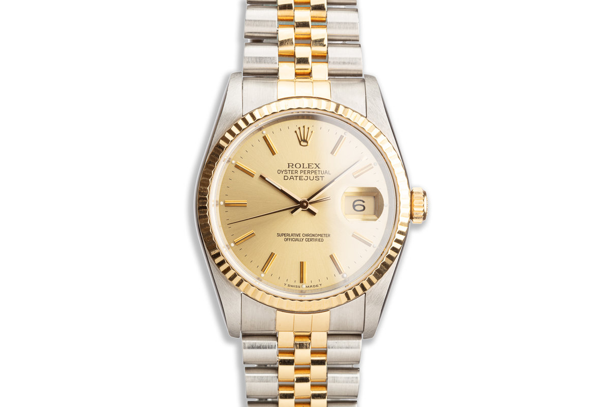 1990 Rolex Two-Tone DateJust 16233 Gold Dial photo, #0