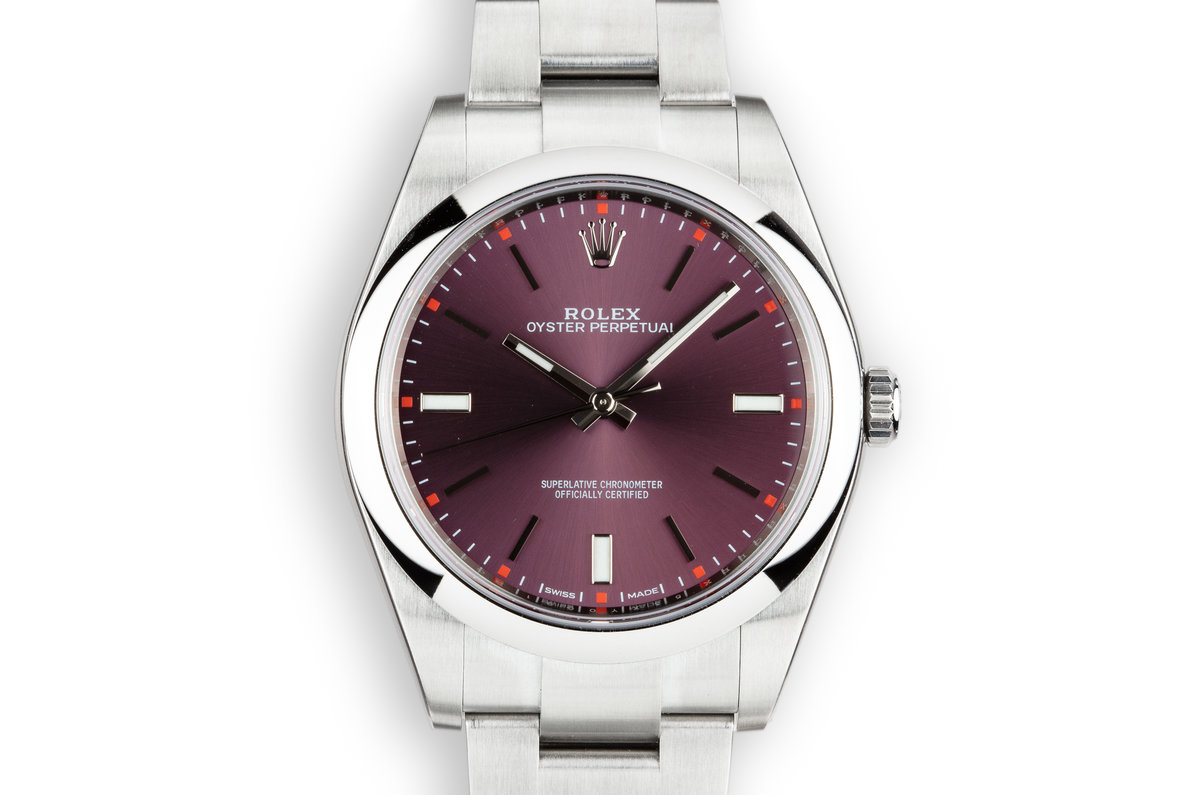 2018 Mint Rolex 39mm Oyster Perpetual 114300 Purple Dial with Box and Papers photo, #0