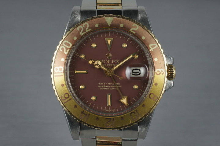 1967 Rolex Two Tone GMT 1675 Root Beer Dial with Service Papers photo