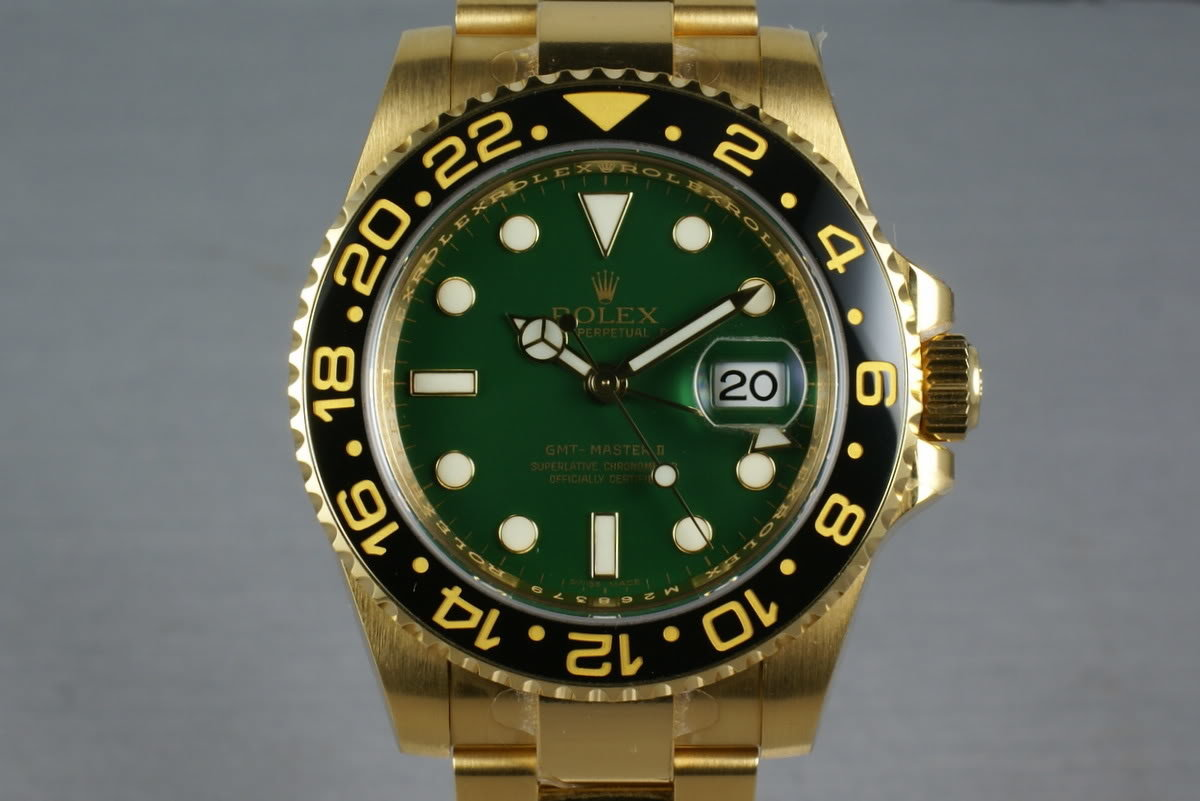 Rolex Ceramic GMT 18K GREEN Dial 116718 with box and papers photo, #0