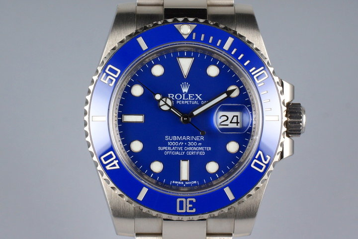 2012 Rolex WG Blue Submariner 116619 with Box and Papers photo