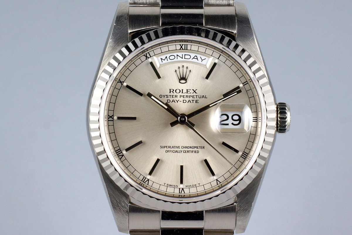 1991 Rolex WG Day-Date 18239 Silver Dial with Box and Papers photo, #0