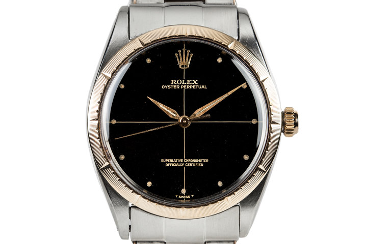 1966 Rolex Two Tone Oyster Perpetual 1008 With Gilt Zephyr Dial and Bezel and Box and Papers photo