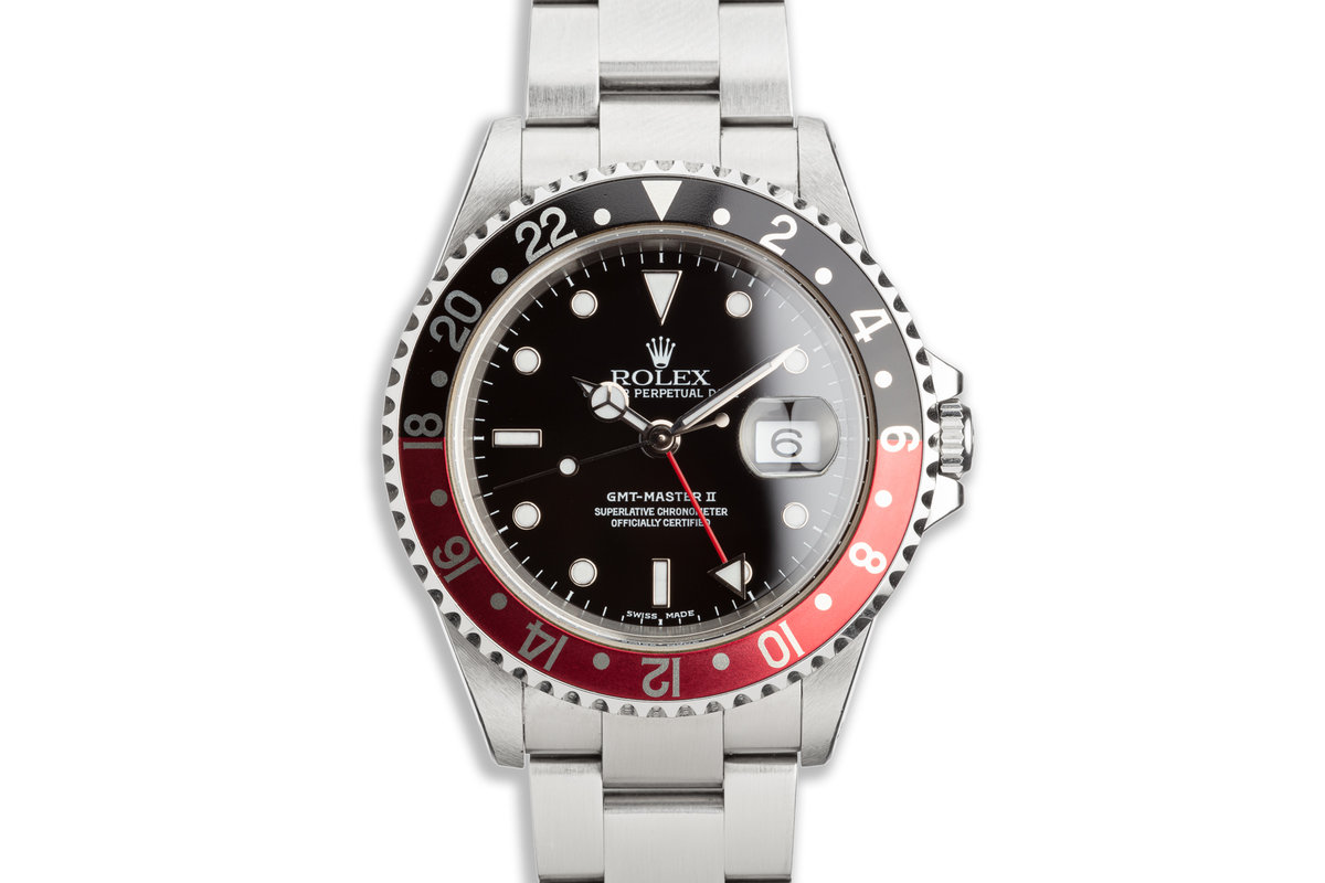 """2000 Unpolished Rolex GMT-Master II 16710 """"Coke"""" Bezel with Box and Papers photo, #0"""