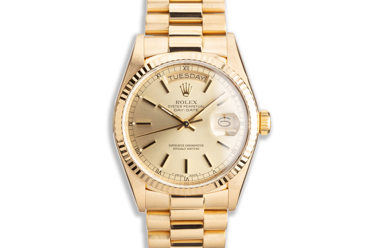 1986 Rolex 18K YG Day-Date 18038 with Gold Stick Dial photo, #0