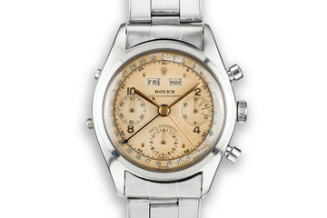 1952 Rolex Dato-Compax Chronograph 6036 Cream Dial with Service Papers photo