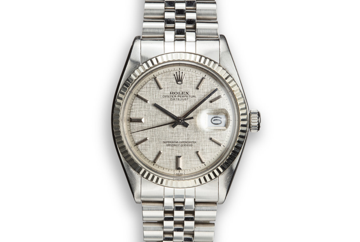 1973 Rolex DateJust 1601 with No Lume Silver Linen Dial photo, #0