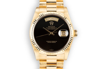 1983 Rolex 18K YG Day-Date 18038 Onyx Dial with Box and Papers photo