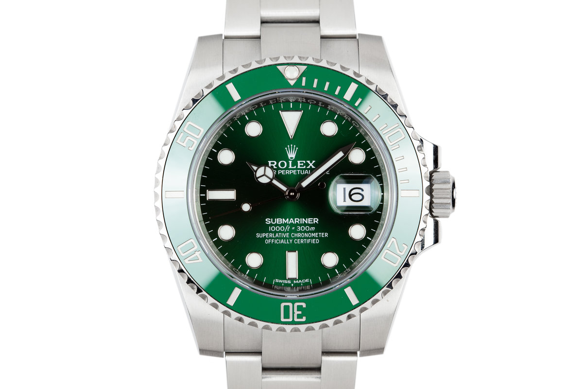 "2018 Rolex Ceramic Green Submariner 116610LV ""Hulk"" with Box and Papers photo, #0"