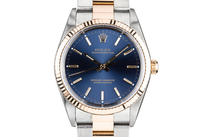 2001 Rolex Two Tone Oyster Perpetual 14233 Blue Dial photo