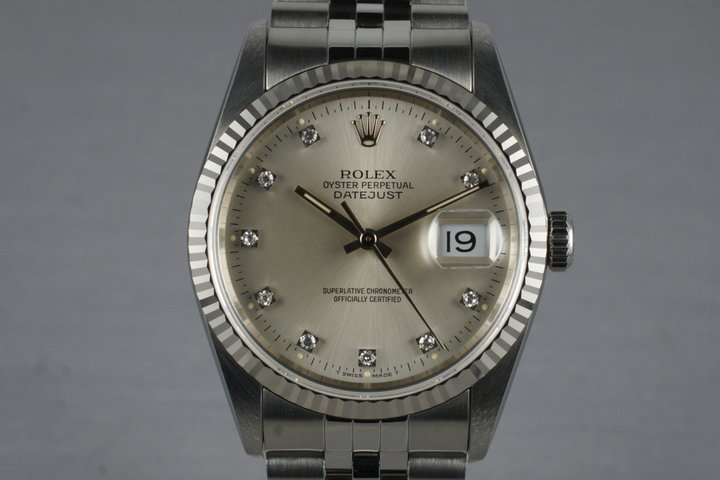 1991 Rolex DateJust 16234 Factory Diamond Dial with Box and Papers photo