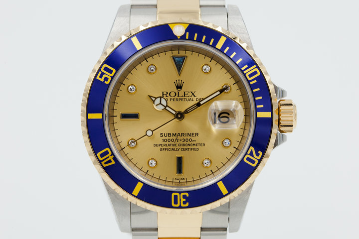 1999 Two-Tone Rolex Submariner 16613 with Serti Dial with Box and Papers photo