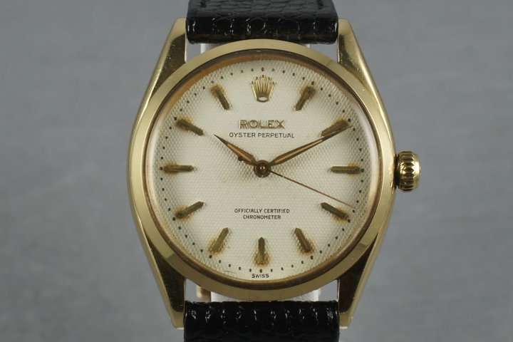1955 Rolex 18K Oyster Perpetual  6564 with a waffle dial photo