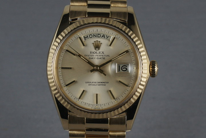 Rolex Vintage 18K YG Day Date 1803 Silver Dial and President Bracelet photo