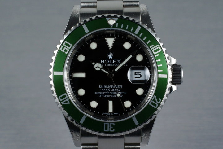 2007 Rolex Green Submariner 16610 with Box and Papers photo