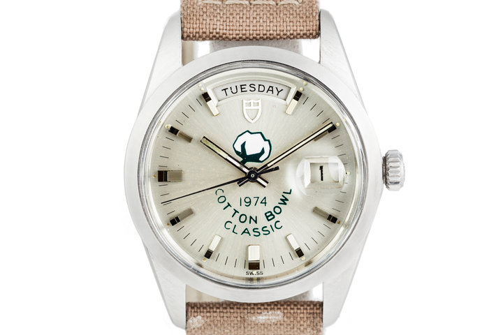 "1974 Tudor ""Jumbo"" Date-Day 7017/0 Silver 1974 Cotton Bowl Classic Dial photo"