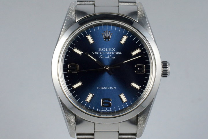 1997 Rolex Air-King 14000 Blue 3/6/9 Dial photo
