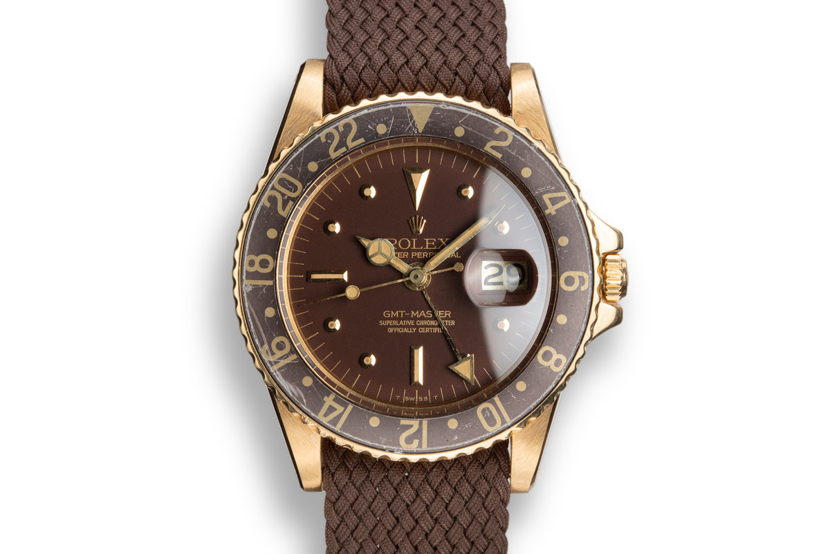1978 Rolex 18K YG GMT-Master 1675 with Matte Brown Nipple Dial photo, #0